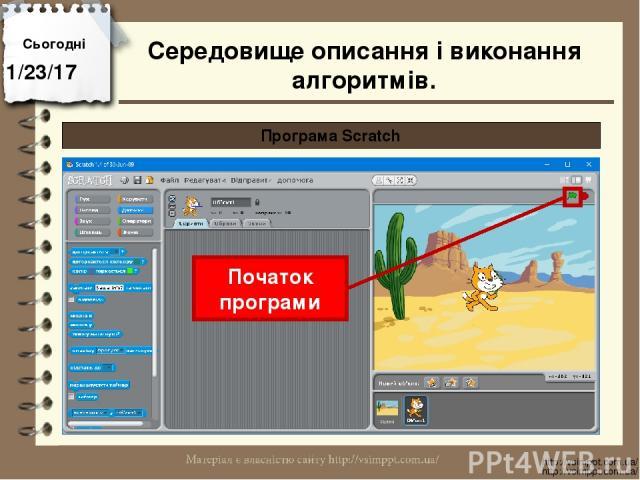 Сьогодні http://vsimppt.com.ua/ http://vsimppt.com.ua/ Програма Scratch Початок програми Середовище описання і виконання алгоритмів.