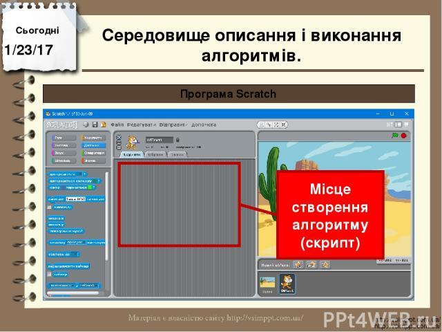 Сьогодні http://vsimppt.com.ua/ http://vsimppt.com.ua/ Програма Scratch Місце створення алгоритму (скрипт) Середовище описання і виконання алгоритмів.