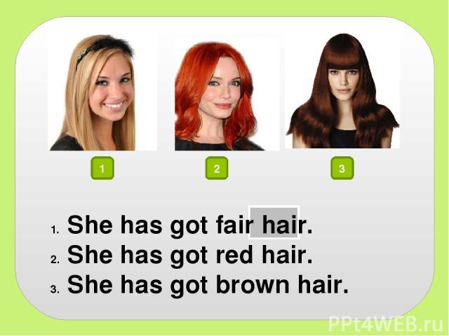 1 2 3 She has got fair hair. She has got red hair. She has got brown hair.