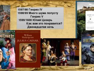 1597/98 Генрих IV 1598/99 Много шума попусту Генрих V 1599/1600 Юлий Цезарь Как