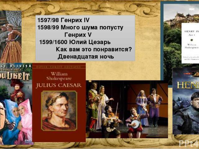 1597/98 Генрих IV 1598/99 Много шума попусту Генрих V 1599/1600 Юлий Цезарь Как вам это понравится? Двенадцатая ночь