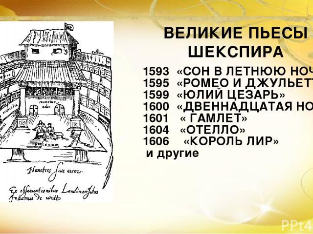 1593 «СОН В ЛЕТНЮЮ НОЧЬ» 1595 «РОМЕО И ДЖУЛЬЕТТА» 1599 «ЮЛИЙ ЦЕЗАРЬ» 1600 «ДВЕННАДЦАТАЯ НОЧЬ» 1601 « ГАМЛЕТ» 1604 «ОТЕЛЛО» 1606 «КОРОЛЬ ЛИР» и другие ВЕЛИКИЕ ПЬЕСЫ ШЕКСПИРА