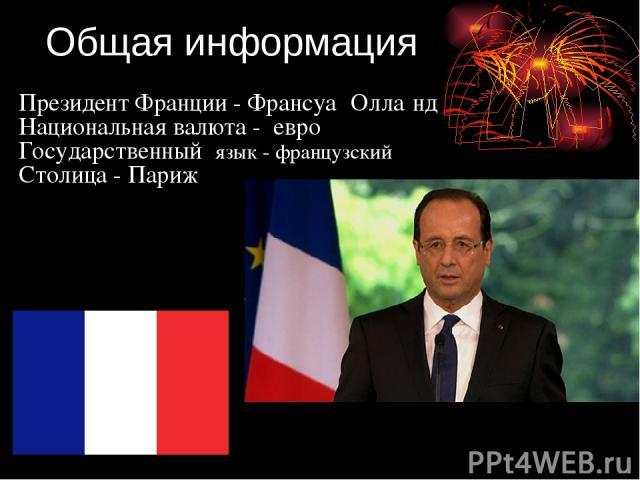 Общая информация Президент Франции - Франсуа Олла нд Национальная валюта - евро Государственный язык - французский Столица - Париж