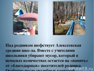 Над родником шефствует Алексеевская средняя шко ла. Вместе с учителями школьники