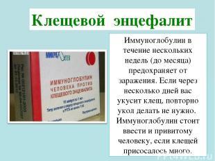 Иммуноглобулин в течение нескольких недель (до месяца) предохраняет от заражения