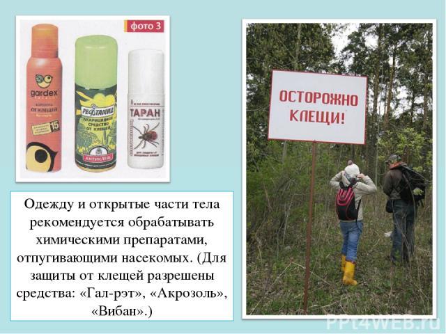 Одежду и открытые части тела рекомендуется обрабатывать химическими препаратами, отпугивающими насекомых. (Для защиты от клещей разрешены средства: «Гал-рэт», «Акрозоль», «Вибан».)