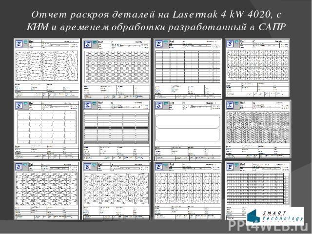 Отчет раскроя деталей на Lasermak 4 kW 4020, с КИМ и временем обработки разработанный в САПР