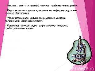 Частота грам (+) и грам (–) сепсиса приблизительно равна. Выросла частота сепсис