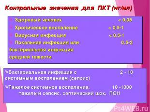 Контрольные значения для ПКТ (нг/мл) Здоровый человек < 0,05 Хроническое воспале