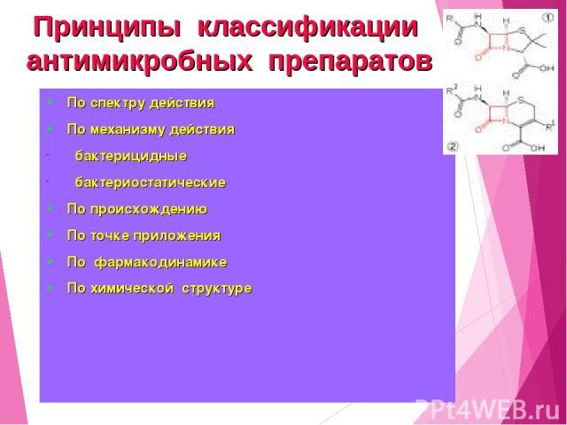 По спектру действия По механизму действия бактерицидные бактериостатические По происхождению По точке приложения По фармакодинамике По химической структуре Принципы классификации антимикробных препаратов