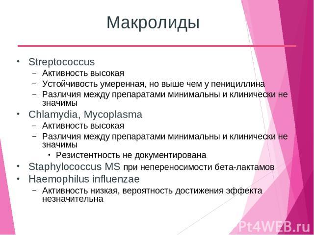 Макролиды Streptococcus Активность высокая Устойчивость умеренная, но выше чем у пенициллина Различия между препаратами минимальны и клинически не значимы Chlamydia, Mycoplasma Активность высокая Различия между препаратами минимальны и клинически не…