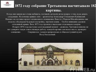 К 1872 году собрание Третьякова насчитывало 182 картины. Когда они заняли все ст