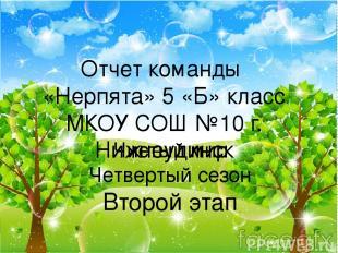 Отчет команды «Нерпята» 5 «Б» класс МКОУ СОШ №10 г. Нижнеудинск Чистый мир Четве