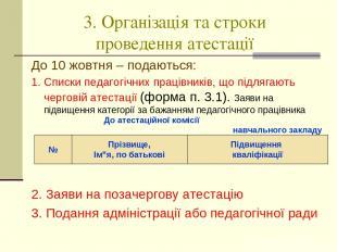 3. Організація та строки проведення атестації До 10 жовтня – подаються: 1. Списк