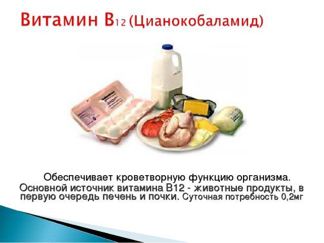 Обеспечивает кроветворную функцию организма. Основной источник витамина B12 - животные продукты, в первую очередь печень и почки. Суточная потребность 0,2мг
