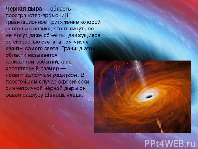 Чёрная дыра — областьпространства-времени[1],гравитационное притяжениекоторой настолько велико, чтопокинутьеё не могут даже объекты, движущиеся соскоростью света, в том числеквантысамогосвета. Граница этой области называетсягоризонтом соб…