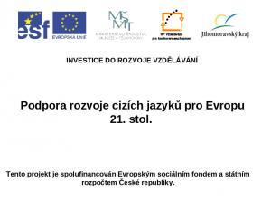 Podpora rozvoje cizích jazyků pro Evropu 21. stol. INVESTICE DO ROZVOJE VZDĚLÁVÁ