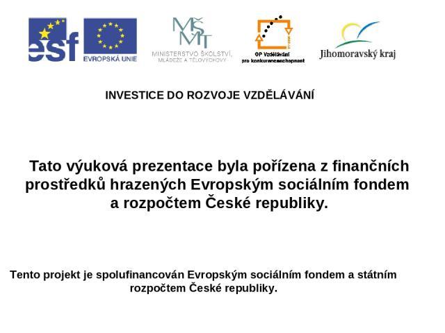 INVESTICE DO ROZVOJE VZDĚLÁVÁNÍ Tento projekt je spolufinancován Evropským sociálním fondem a státním rozpočtem České republiky. Tato výuková prezentace byla pořízena z finančních prostředků hrazených Evropským sociálním fondem a rozpočtem České rep…