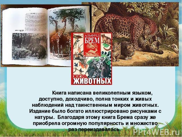 Книга написана великолепным языком, доступно, доходчиво, полна тонких и живых наблюдений над таинственным миром животных. Издание было богато иллюстрировано рисунками с натуры. Благодаря этому книга Брема сразу же приобрела огромную популярность и м…