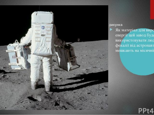 Як матеріал для виробництва енергії цей завод буде використовувати людські фекалії від астронавтів, що мешкають на місячній базі.