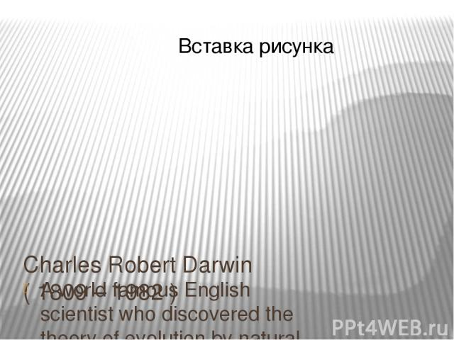 Charles Robert Darwin ( 1809 – 1982 ) A world famous English scientist who discovered the theory of evolution by natural selection.
