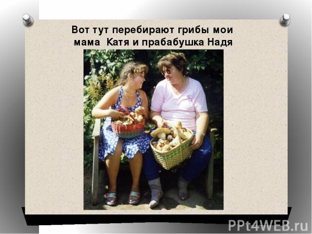 Вот тут перебирают грибы мои мама Катя и прабабушка Надя