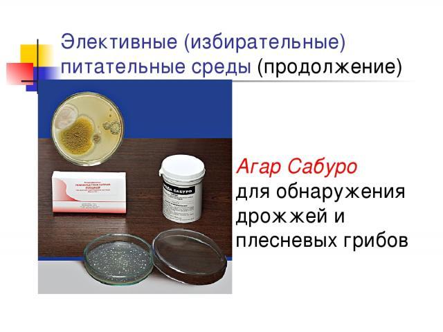Элективные (избирательные) питательные среды (продолжение) Агар Сабуро для обнаружения дрожжей и плесневых грибов