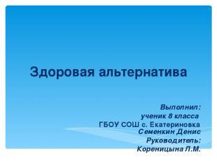 Выполнил: ученик 8 классa ГБОУ СОШ с. Екатериновка Семенкин Денис Руководитель: