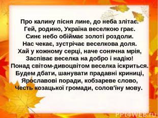 Про калину пісня лине, до неба злітає. Гей, родино, Україна веселкою грає. Синє