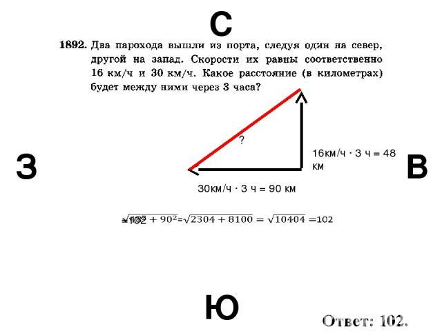 С В Ю З 30км/ч · 3 ч = 90 км 16км/ч · 3 ч = 48 км ? Ответ: 102.