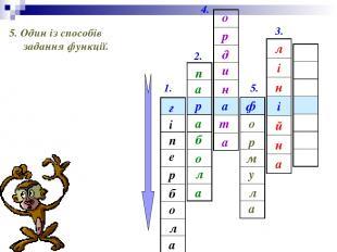 1. 2. 3. 4. 5. ф а р г і е п а л о б р 5. Один із способів задання функції. п а
