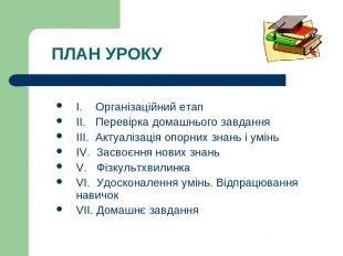 ПЛАН УРОКУ І. Організаційний етап ІІ. Перевірка домашнього завдання ІІІ. Актуалі