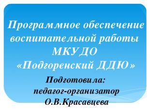 Программное обеспечение воспитательной работы МКУДО «Подгоренский ДДЮ» Подготови