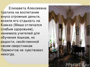 Елизавета Алексеевна тратила на воспитание внука огромные деньги, возила его отд