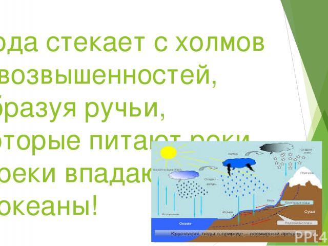 Вода стекает с холмов и возвышенностей, образуя ручьи, которые питают реки, а реки впадают в моря и океаны!