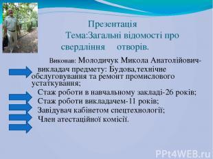 Презентація Тема:Загальні відомості про свердління отворів. Виконав: Молодичук М