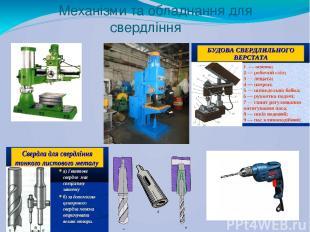 Механізми та обладнання для свердління