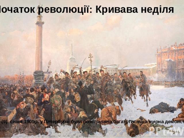 Початок революції: Кривава неділя У неділю 22 (9) січня 1905р. у Петербурзі була розстріляна багатотисячна мирна демонстрація.