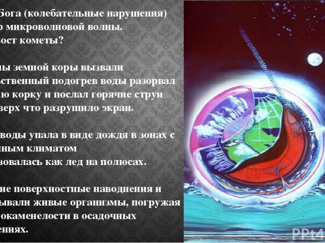 Голос Бога (колебательные нарушения) пример микроволновой волны. Или хвост кометы? Разломы земной коры вызвали насильственный подогрев воды разорвал ледяную корку и послал горячие струи пара вверх что разрушило экран. Масса воды упала в виде дождя …