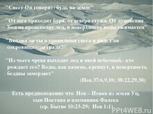 """Снегу Он говорит: будь на земле"" ""От юга приходит буря, от севера стужа. От дун"
