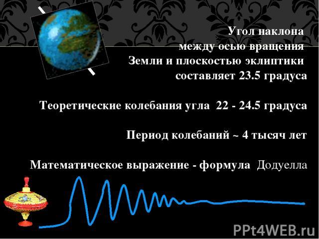 Угол наклона между осью вращения Земли и плоскостью эклиптики составляет 23.5 градуса Теоретические колебания угла 22 - 24.5 градуса Период колебаний ~ 4 тысяч лет Математическое выражение - формула Додуелла