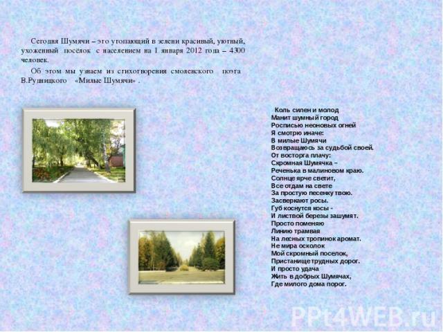 Сегодня Шумячи – это утопающий в зелени красивый, уютный, ухоженный посёлок с населением на 1 января 2012 года – 4300 человек. Об этом мы узнаем из стихотворения смоленского поэта В.Рудницкого «Милые Шумячи» . Коль силен и молод Манит шумный город Р…