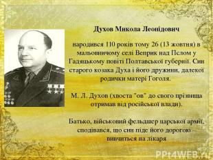 Духов Микола Леонідович народився 110 років тому 26 (13 жовтня) в мальовничому с