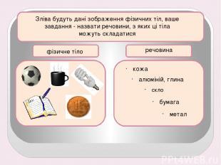 Зліва будуть дані зображення фізичних тіл, ваше завдання - назвати речовини, з я