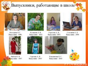 Погодаева О.С. Выпускник - 1989 Куликова Л. В. Выпускник - 1993 Селезнёва О. Е.