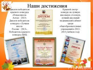 Диплом победителя краевого конкурса «Новая школа Алтая – 2013» Диплом победителя