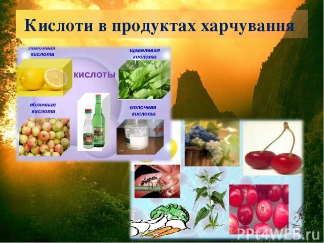 Кислоти в продуктах харчування