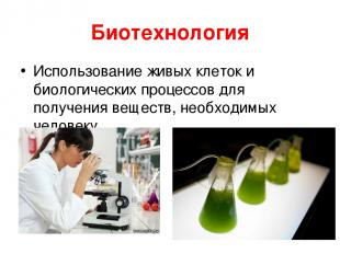 Биотехнология Использование живых клеток и биологических процессов для получения