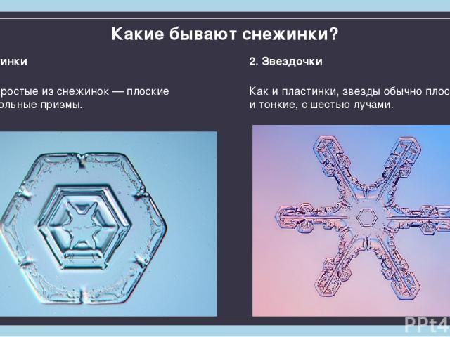 Какие бывают снежинки? 1. Пластинки Самые простые изснежинок— плоские шестиугольные призмы. 2. Звездочки Как ипластинки, звезды обычно плоские итонкие, сшестью лучами.