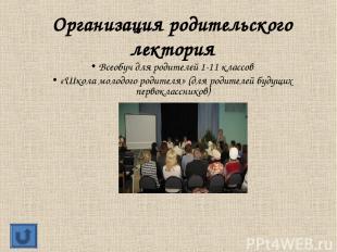 Организация родительского лектория Всеобуч для родителей 1-11 классов «Школа мол